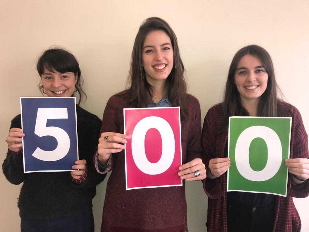 DL staff holding 500 sign