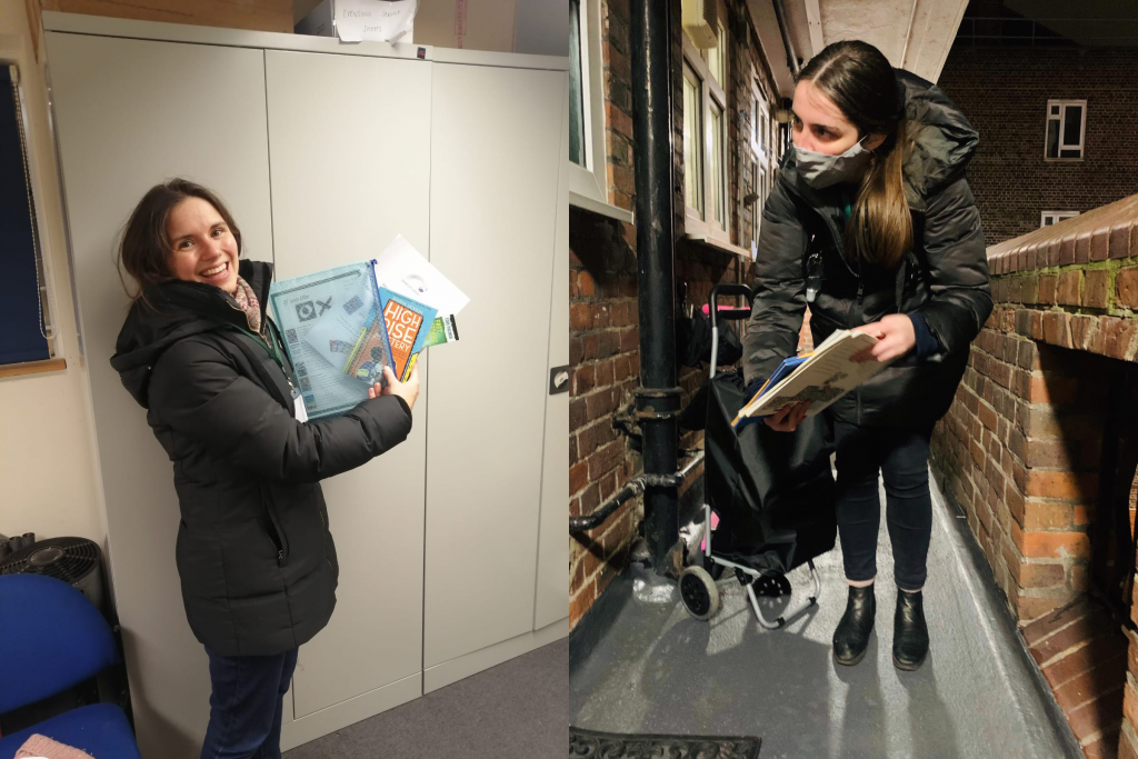 Two picture collage, one with a volunteer holding books and one with a volunteer doing a bookswap
